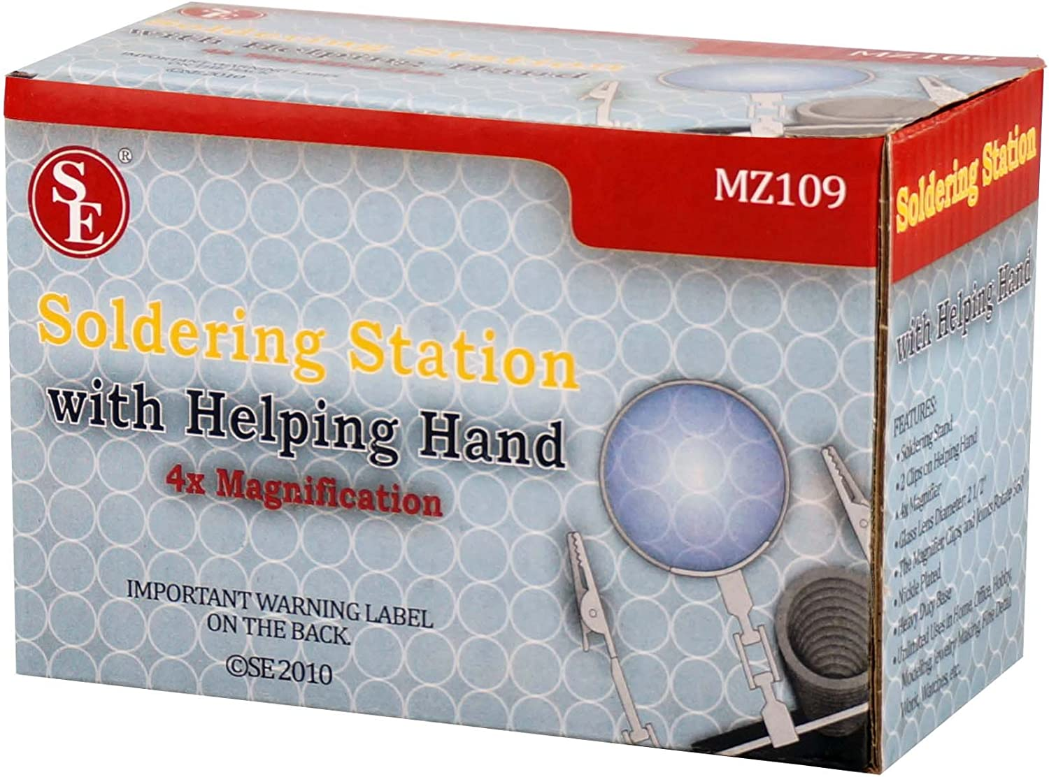 Glass Lens 2.5-Inch Diameter SE MZ109 3X Helping Hand with Soldering Stand