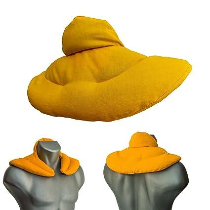 Cojín cervical térmico con cuello. Mango. Saco con semillas de lino. Cojín de nuca. Almohada térmica caliente y frio con semillas