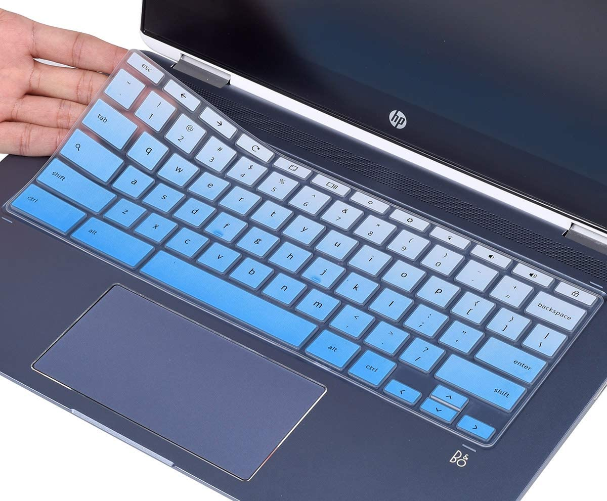 CaseBuy Keyboard Cover for 2020 HP Chromebook 14 inch, HP Chromebook 14-DA Series, HP Chromebook 14B-CA Series, HP Chromebook 14a-na Accessories, Ombre Blue
