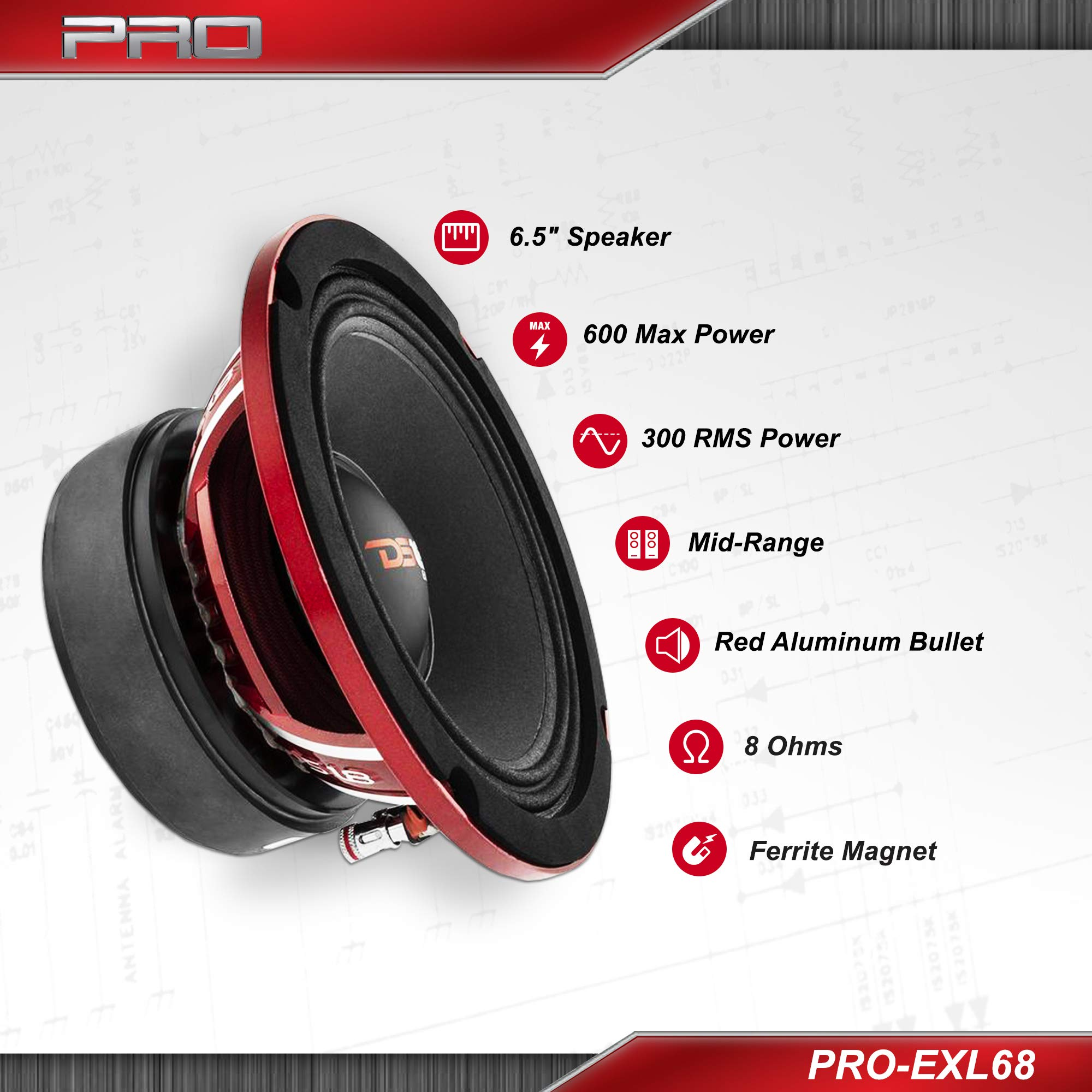 DS18 PRO-EXL68 Loudspeaker - 6.5'', Midrange, Red Aluminum Bullet, 600W Max, 300W RMS, 8 Ohms, Ferrite Magnet - For the Peple Who Live and Breathe Car Audio (1 Speaker) by DS18 (Image #2)