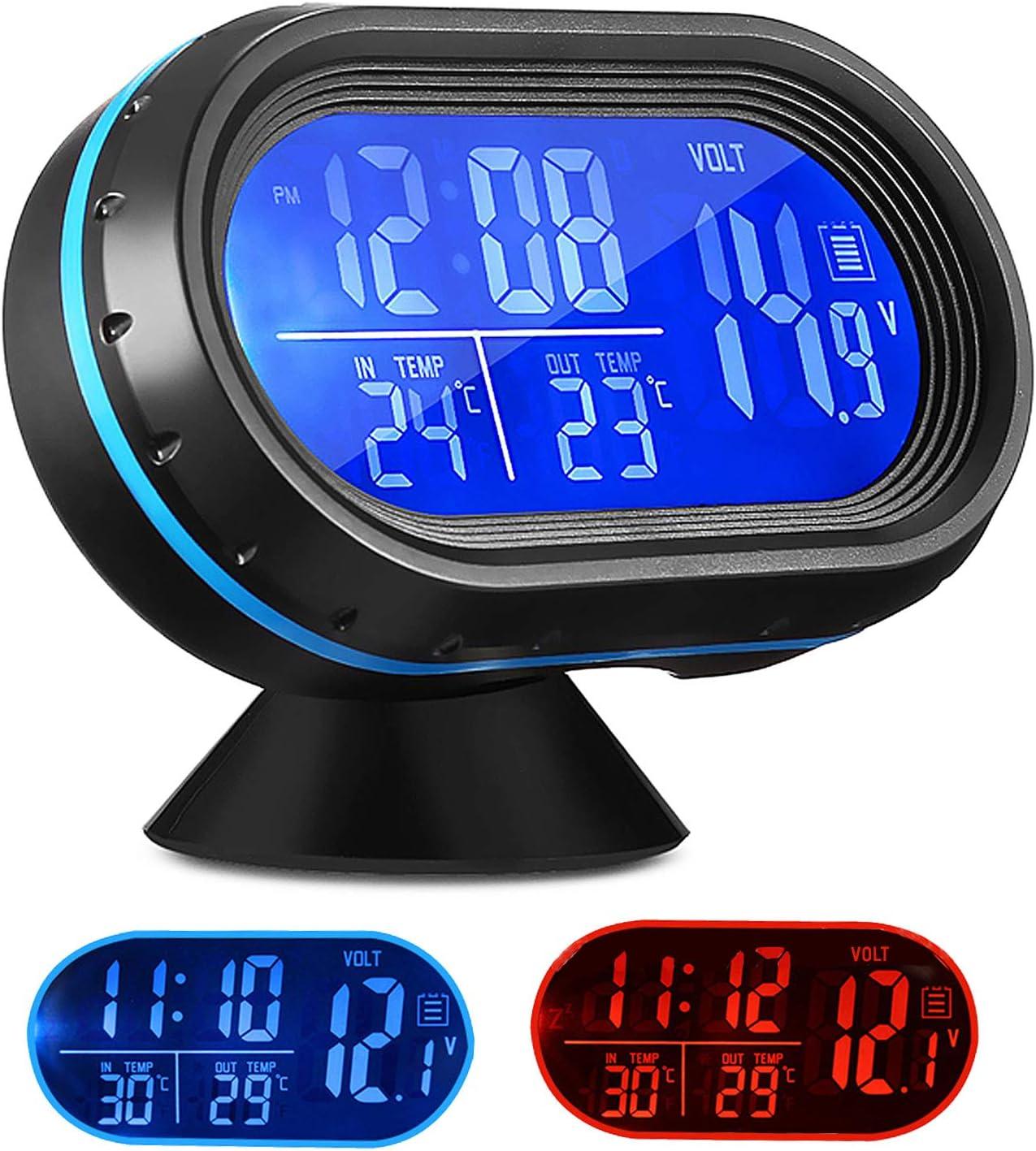 YTDTKJ VST 7009V Multi-Functional Smart Digital Vehicular Clock Car Digital Clock with Thermometer and Automotive Voltmeter and Backlight