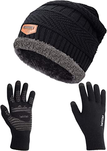 New Boys Black Knit Hat and Knit Skeleton Gripper Gloves One Size Beanie