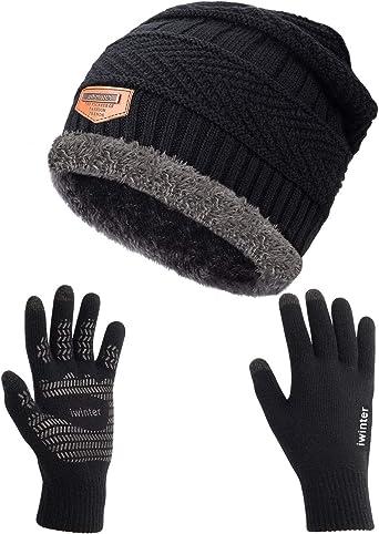 2pcs Ski Cap And Scarf Set Man Winter Warm Hat Knitted Skullies Beanies Warm Hat