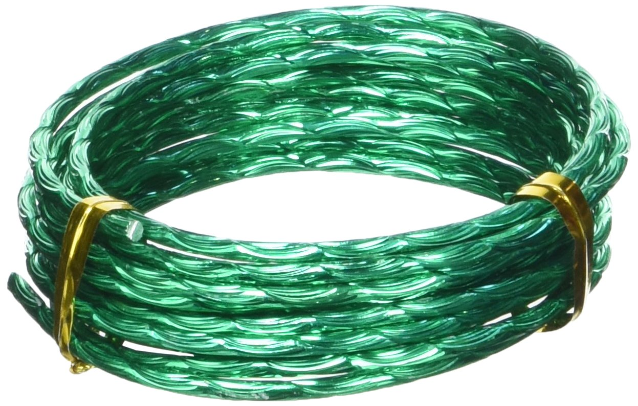 Efco 2 mm x 2 m Aluminium Anodised Colour Wire with Wave Pattern Embossing, Grass Green 22 303 65