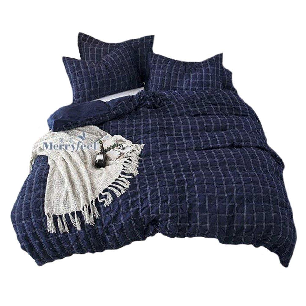 Merryfeel 100% cotton yarn dyed seersucker Duvet Cover Set - Full/Queen