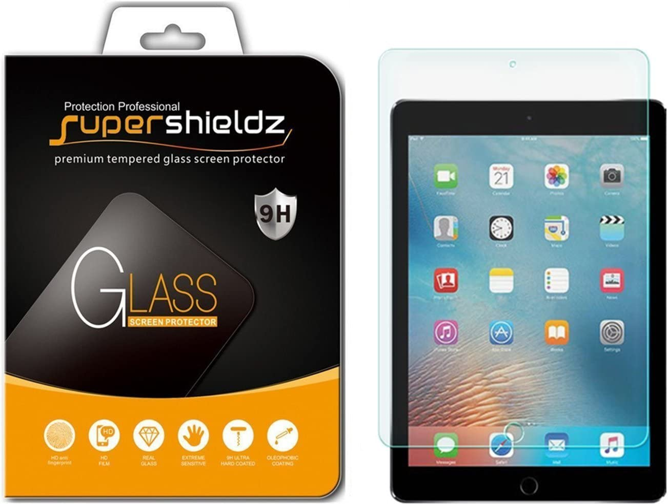 Supershieldz for Apple iPad Pro 12.9 inch (2015 and 2017 Model) Screen Protector, (Tempered Glass) Anti Scratch, Bubble Free