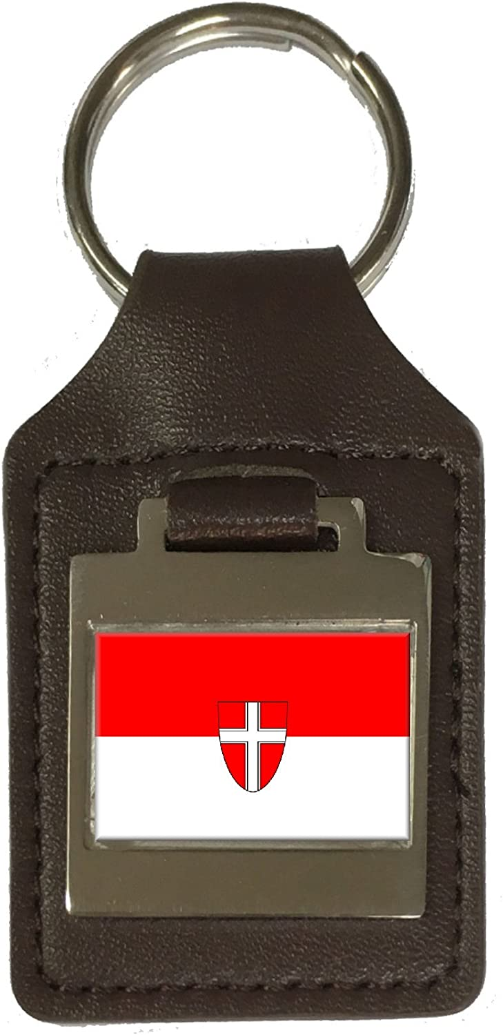 Leather Keyring Engraved Vienna City Austria Flag