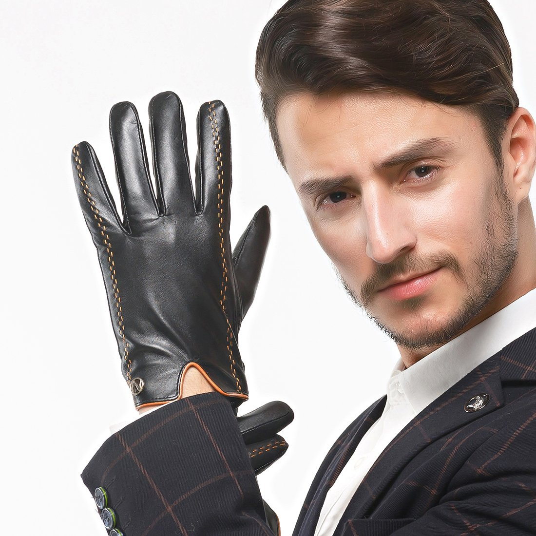 Nappaglo Men's Italian Nappa Leather Gloves Touchscreen Lambskin Warm Gloves with Lines of Hit Color (S (Palm Girth:up to 8''), Black (Touchscreen)) by Nappaglo (Image #2)