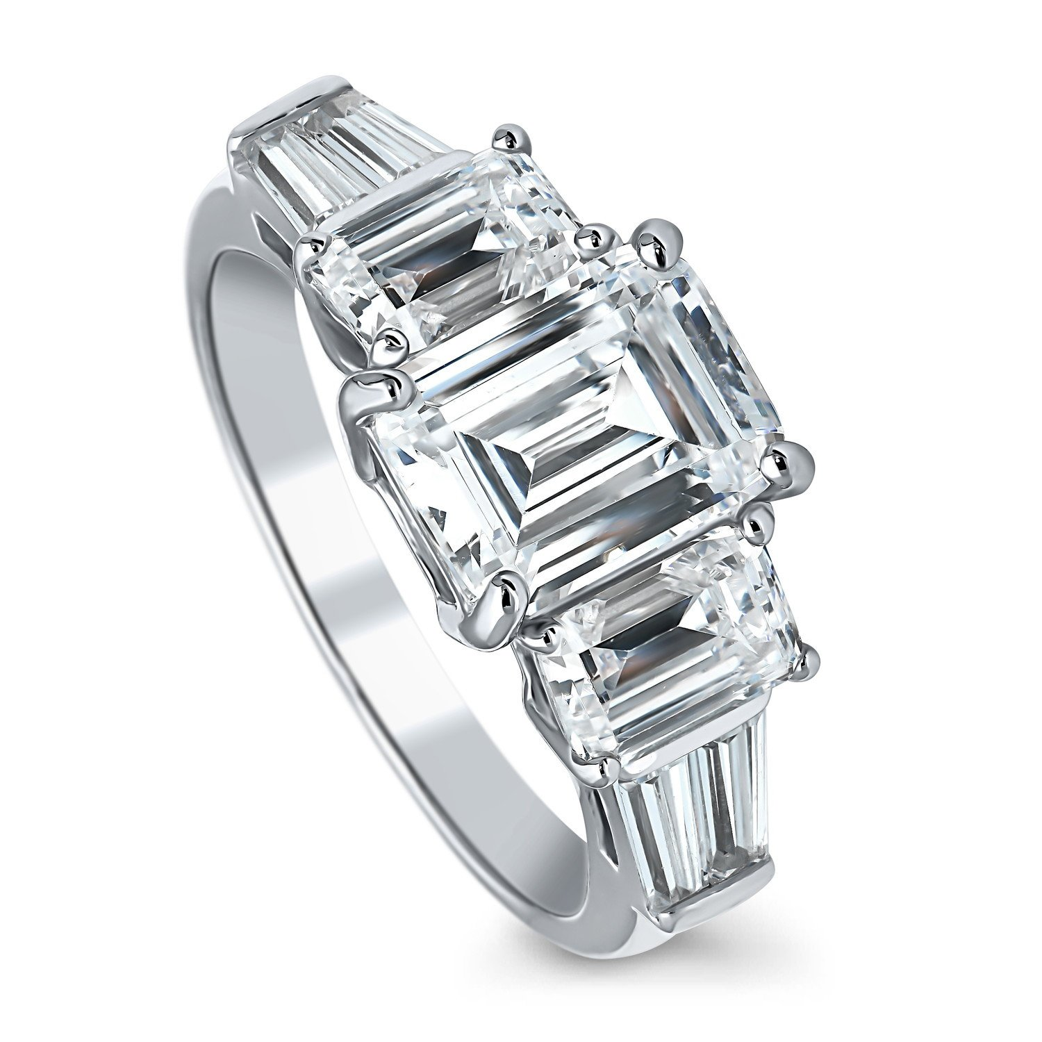 BERRICLE Rhodium Plated Silver Emerald Cut Cubic Zirconia CZ 3-Stone Engagement Ring 4.09 CTW Size 5