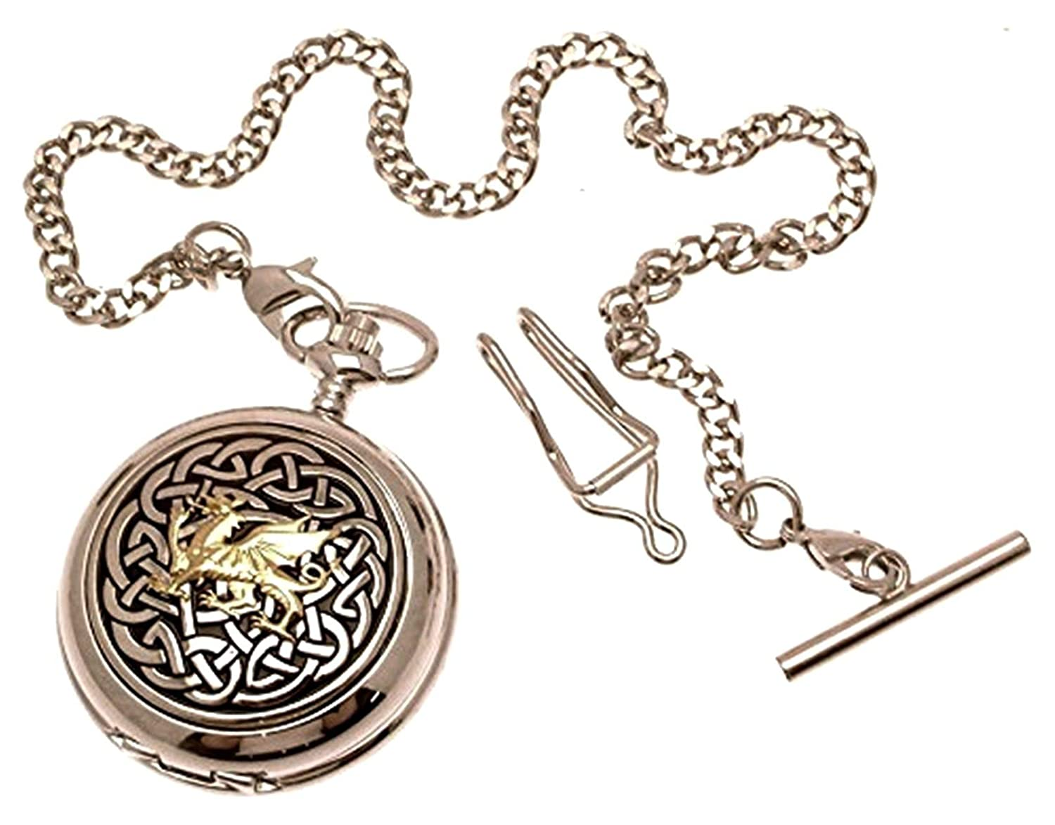 Pocket Watch – Solid Pewter Fronted Quartz Pocket Watch – Two Tone Celtic Knot with Dragon Design 59