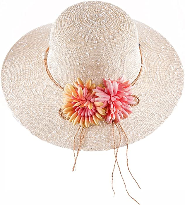 c5445a3e01e Wide Brim Straw Beach Sun Hats for Women Foldable Roll up Packable UV  Protection (Beige) at Amazon Women s Clothing store