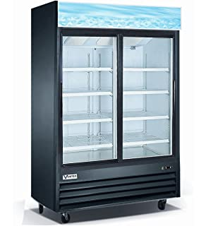 Vortex Refrigeration 2 Sliding Glass Door Black Merchandiser Refrigerator    45 Cu. Ft.