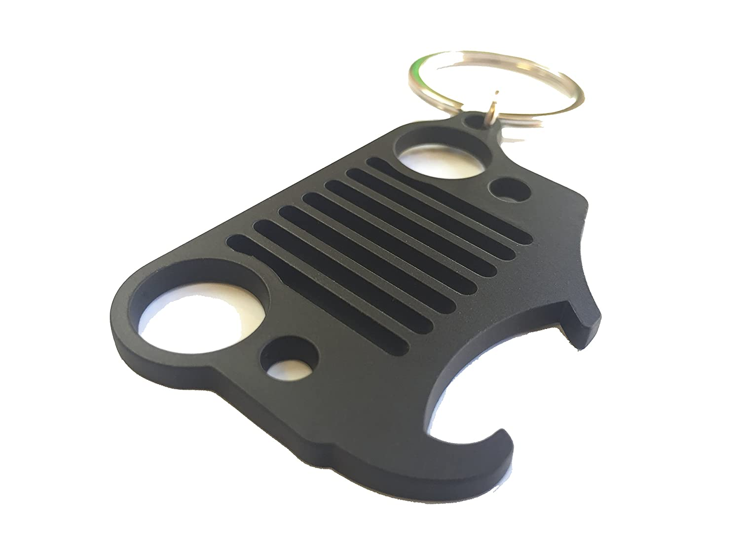 Off-Camber Design Jeep Grill Key Chain Bottle Opener Keychain Matte Black Wrangler Grille
