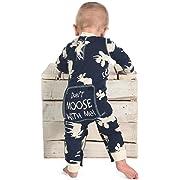 Classic Moose Blue Baby Flapjack Onsie Pajamas by LazyOne | Adult Kid Infant Dog Family Matching Pajamas (6 MO)