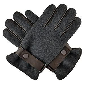 Bruceriver Men's Melton Fabric and Leather Gloves Size 9.5