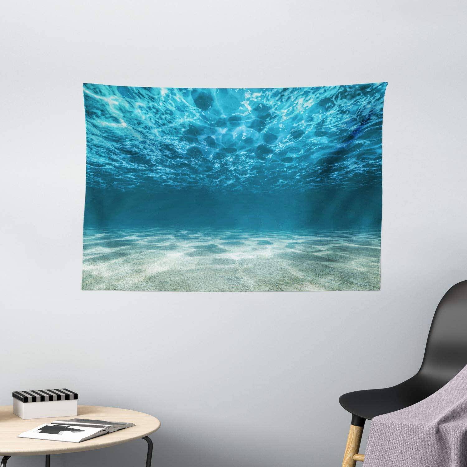 """Ambesonne Ocean Tapestry, Gravelly Bottom Wavy Surface Tropical Seascape Abyss Underwater Sunny Day Image, Wide Wall Hanging for Bedroom Living Room Dorm, 60"""" X 40"""", Ivory Blue"""