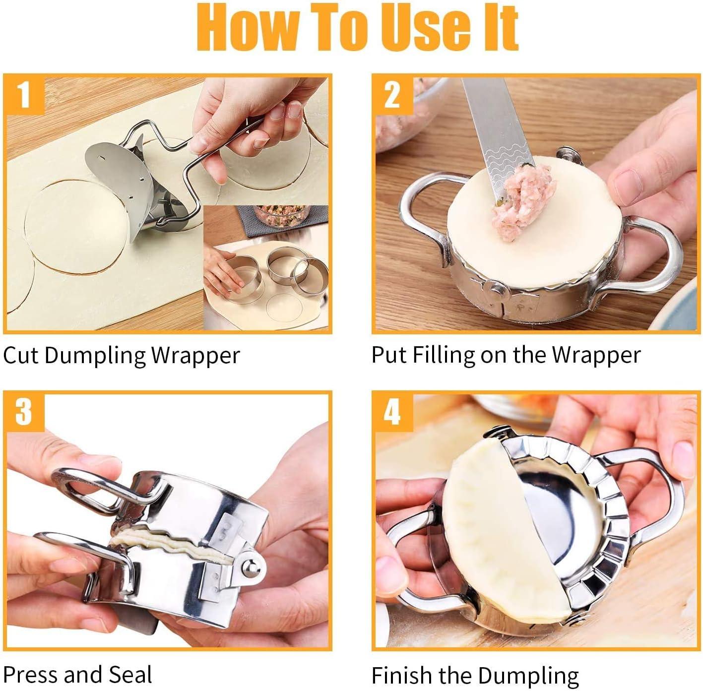 HIQE-FL Dough Press Set,Ravioli Maker,Dumpling Maker Set,Dumpling Maker Maschine,Dumplings Wrapper,Ravioli Biscuit Cutters,Kn/ödel-Hersteller,Dumpling Cutter,Geb/äck-Werkzeuge