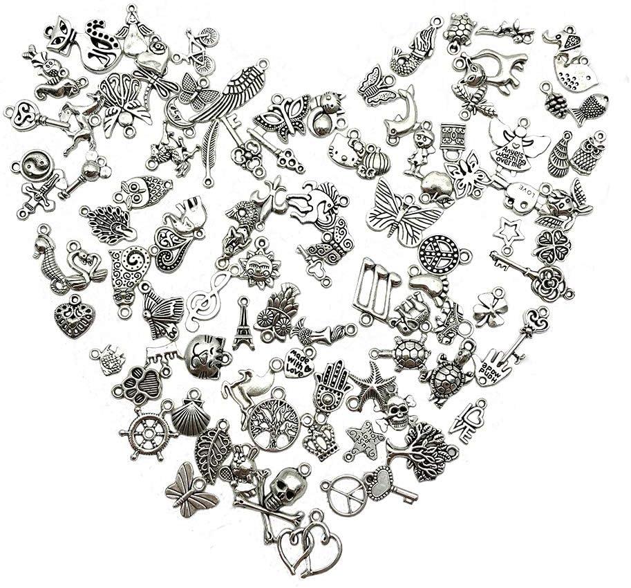 Pendientes Pulseras Llaveros Collares 100 Pcs Colgantes Mixtos Abalorios de Plata Colgantes Tibetanos del Encanto de Plata Retro al Por Mayor para De la Joyer/ía de Bricolaje