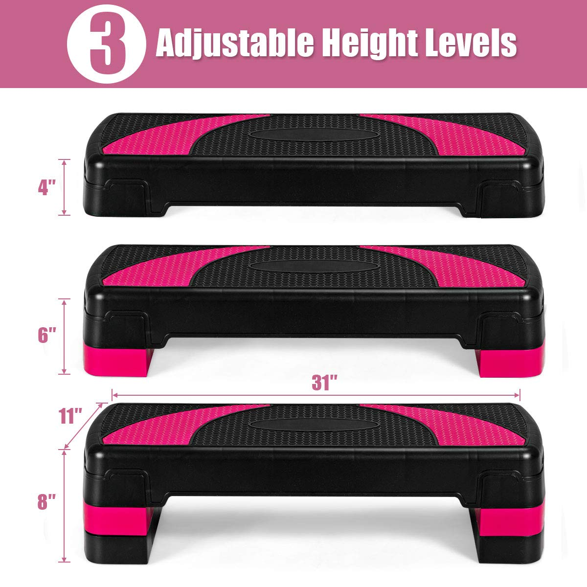 Goplus 31 Aerobic Exercise Stepper Deck, 4 6 8 Levels Height Adjustable Fitness Workout Step Platform Trainer with Risers, for Home Gym and Office Black Pink