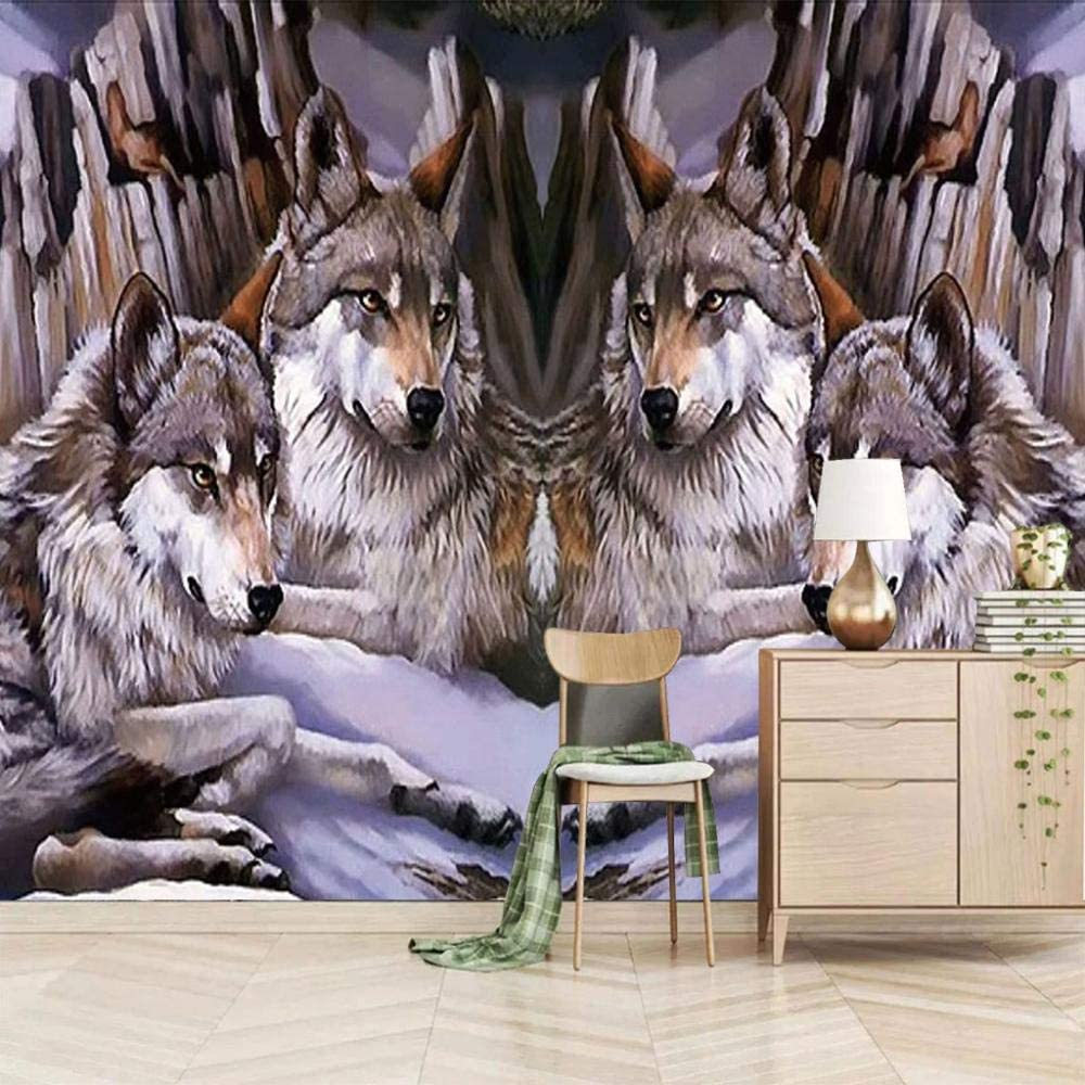 Wall Mural Snow Wolf Pack Mural Background Wall Painting Wall Papers Home Decor 3d Custom Wallpaper Hd 400x280cm Amazon Com