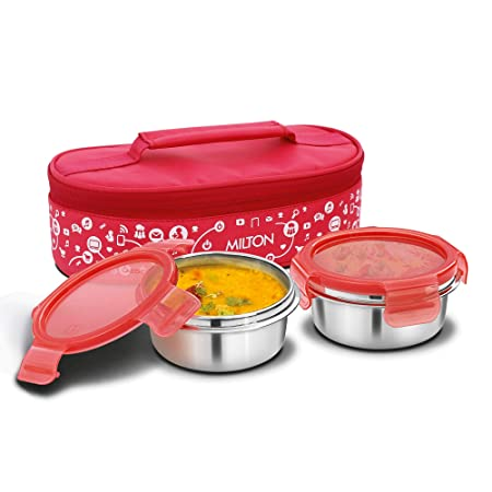 Milton Lifestyle Lunch Stainless Steel Lunch Box, 2 Containers, Red
