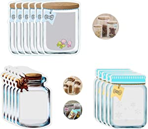 45 Pieces Mason Jar Bottles Bags, Reusable Food Storage Bags Storage Bags Nuts Candy Cookies Bag Leak-Proof Food Bags Organizer Zipper Sealed Bags Fresh Bags for Travel Indoors Outdoors, 9 Sizes