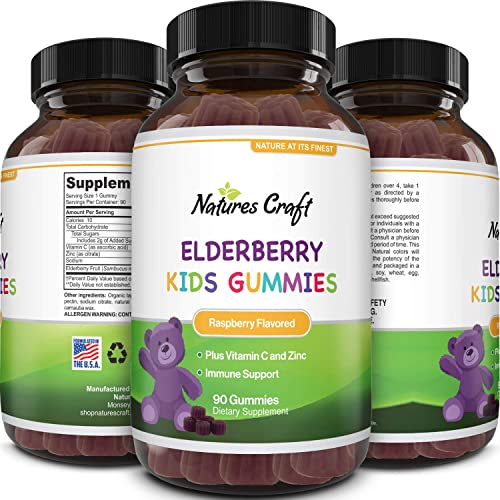 Sambucus Elderberry Gummies Kids Vitamins – Delicious Black Elderberry Gummies for Kids Immunity Booster – Immune System Support for Kids Gummy Vitamins with Potent Antioxidants Vitamin C and Zinc