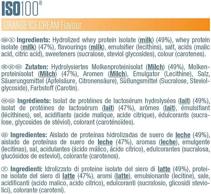 Dymatize ISO 100 Orange Ice Cream 2,2kg - Hidrolizado de Proteína de Suero Whey + Aislado en Polvo