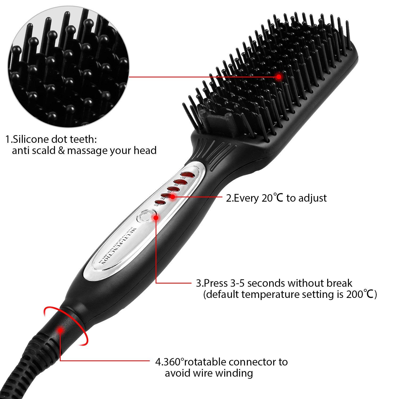 Molain Cepillo Alisador de Pelo de Aniones Protege el Pelo Anti-quemaduras, Plancha de Alisado más Denso con 4 Niveles Temperatura Ajustable