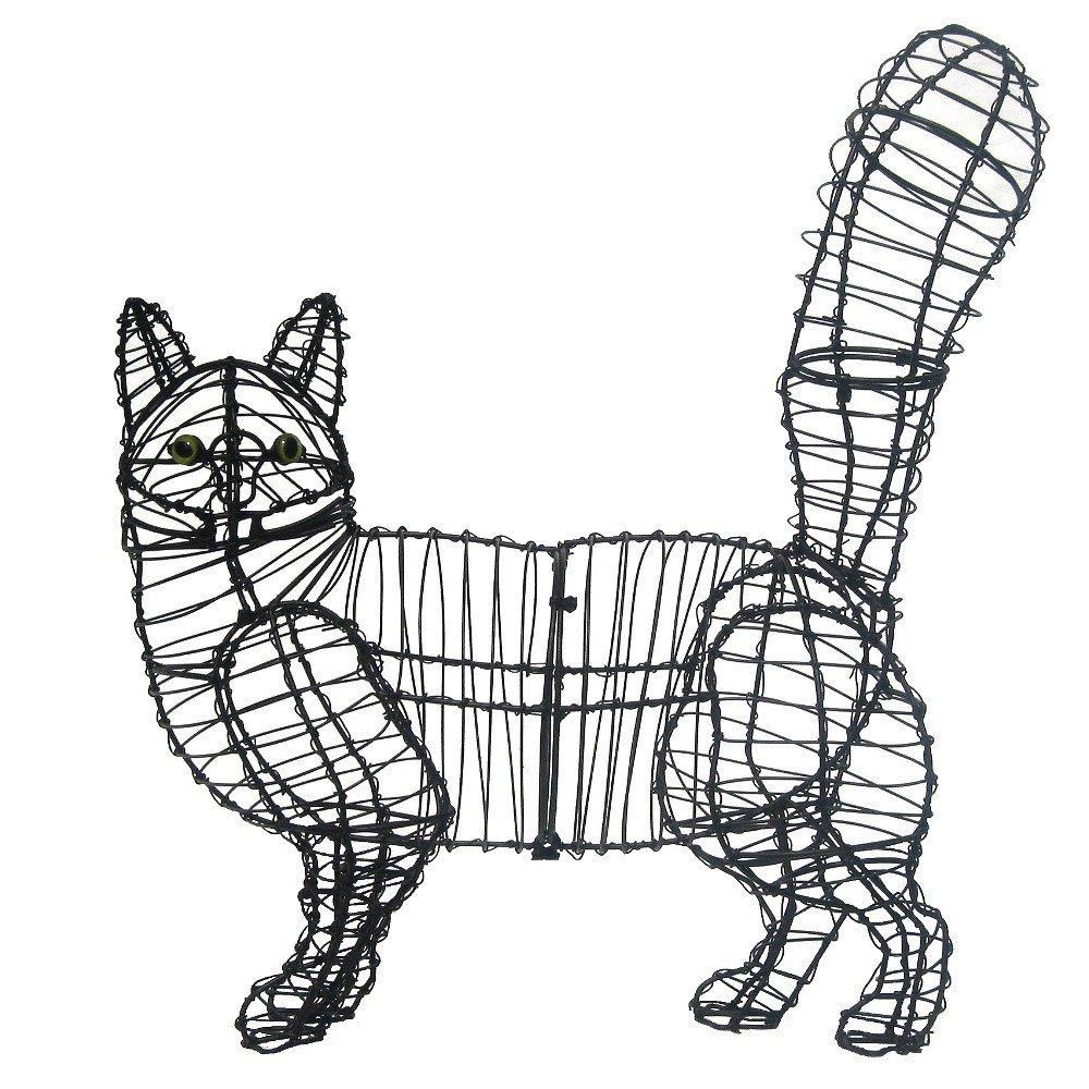 Gartenfigur gehende Katze Draht-Figur für Moos: Amazon.de: Garten