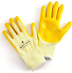 WILDFLOWER Tools Yellow Gardening Work Gloves (Small) | Nitrile Coating Protection
