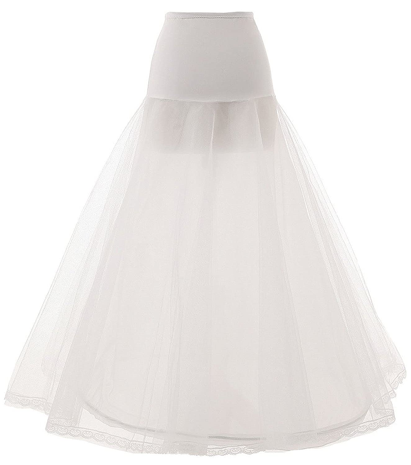 KISSBRIDAL Women's A Line Floor Length Wedding Dress Underskirt Petticoats Slips AC83-White