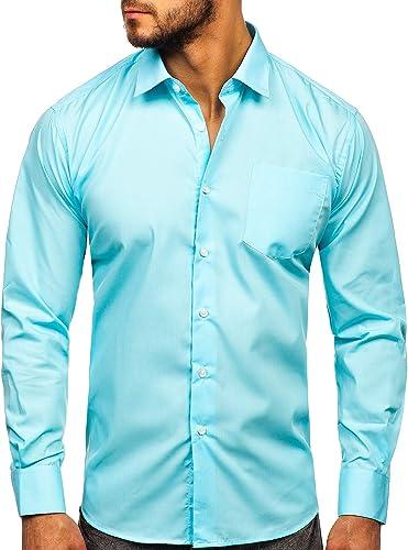 BOLF Camisa Elegante de Rayas de Manga Larga para Hombre 2B2