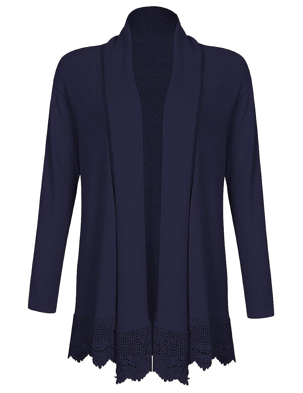 Leadingstar Women Long Sleeve Drapped Open-Front Shawl Lace Trim Knit Cardigan