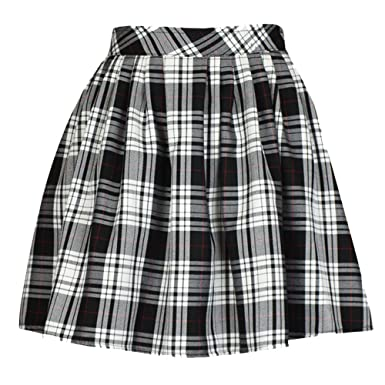 Ladies/Womens Elasticated Waist Tartan Skater Skirt: Amazon.co.uk ...