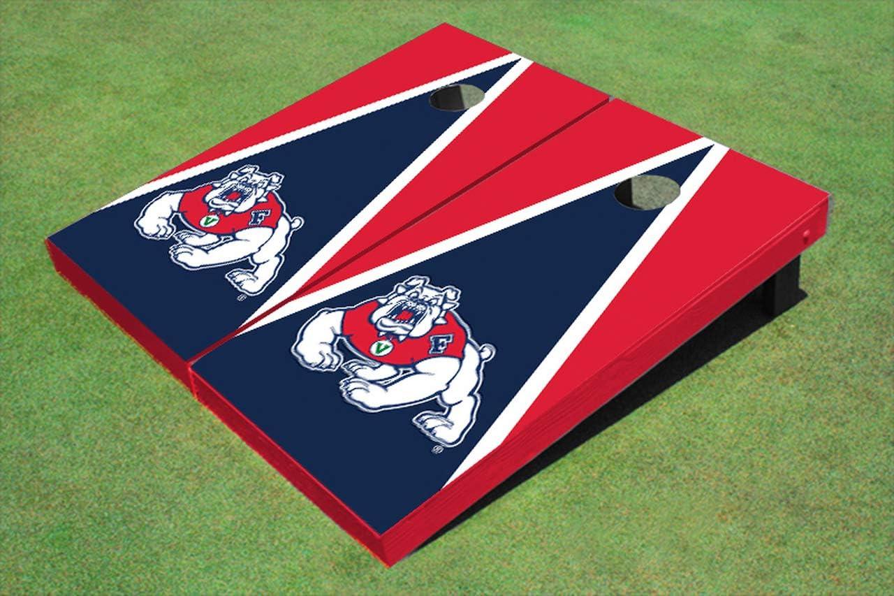 Skip's Garage Fresno State Bulldogs ネイビー 三角形 コーンホールボード - サイズとアクセサリーを選択 - ボード2枚、バッグ8枚などを含む  H. 2x4 Boards - Team Bags (Weather)
