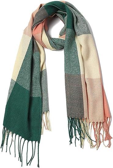 Womens Large Scarf Winter Warm Shawl Fashion Plaid Wrap Stylish Soft Blanket Cashmere Feel Scarves Pruple