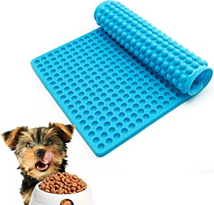 Silicone Baking Mats,Healthy Cooking Sheet,Food Baking Molds,dog and cat bowl mat,Silicone Mold Non-stick for Pets Dog or Cat Treats/Heat Preservation/Dishes Draining/Food Mold/Drain Oil(Blue)