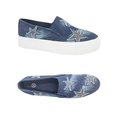 Scarpe Mocassino Slip On Donna Stelle Glitter Sneakers Estive Jeans Scuro Hf107 dfFVf