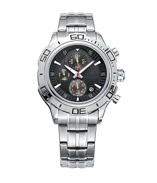 Megir Fashion & Casual analógico de cuarzo, digital Cronógrafo redondo reloj de pulsera para hombres