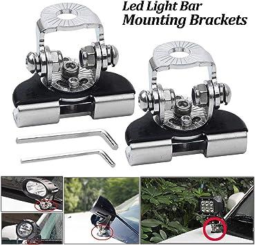 2pcs Stainless Steel Universal Car Auto Hood LED Work Light Mount Bracket Holder