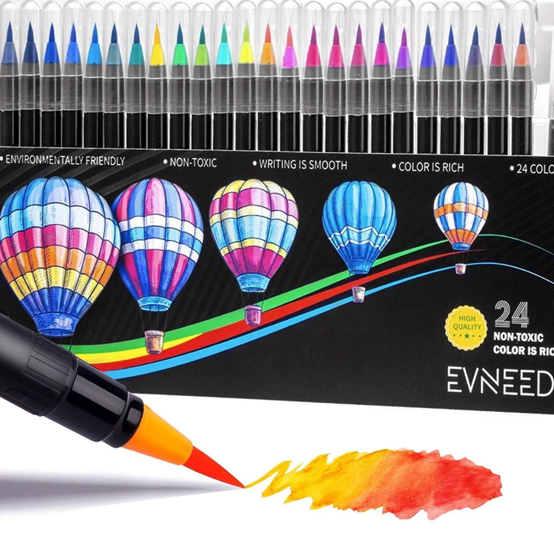 EVNEED Set pennelli per acquerello Set di 24 colori adatti alla calligrafia, inchiostri colorati ottimi per manga, per colorare, per designer, creare effetti acquerellati