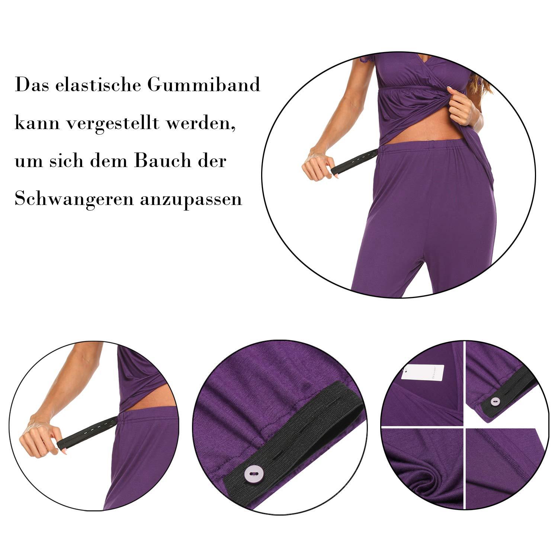 MAXMODA Damen Stillpyjama Spitze Langarm//Kurzarm Umstandspyjama Set Baumwolle Umstands//Still-Schlafanzug mit Kn/öpfeleiste