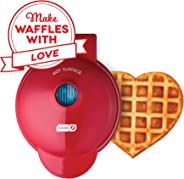 Dash DMW001HR Mini Maker Machine Shaped Individual Waffles, Paninis, Hash browns, Other On The Go Breakfast, Lunch, or Snacks