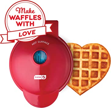 Dash Dmw001hr Mini Maker Machine Shaped Individual Waffles Paninis Hash Browns Other On The Go Breakfast Lunch Or Snacks Heart Red