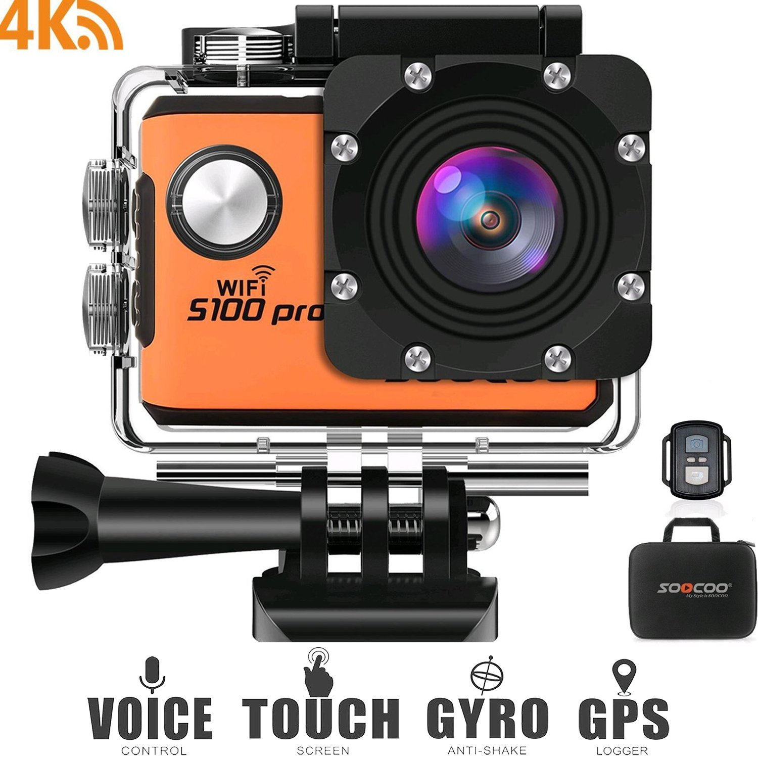 4K WiFi Action Sports Camera Cam, SOOCOO S100 Pro 20MP Touchscreen Voice Control Ultra HD 30m Waterproof Remote Underwater DV Camcorder 170° Wide Angle 2'' LCD/2 Batteries/17 Accessories Kit-Orange by SOOCOO