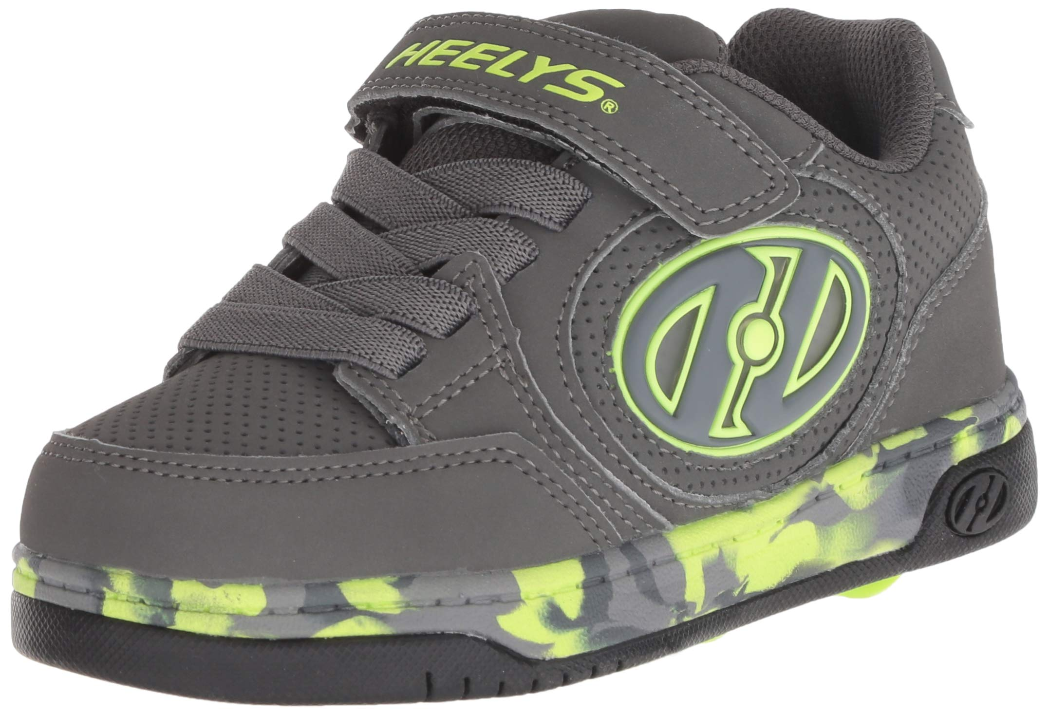 Heelys Kids' Plus X2 Lighted Tennis Shoe, Charcoal/Bright Yellow/Confetti, 1 M US Little Kid
