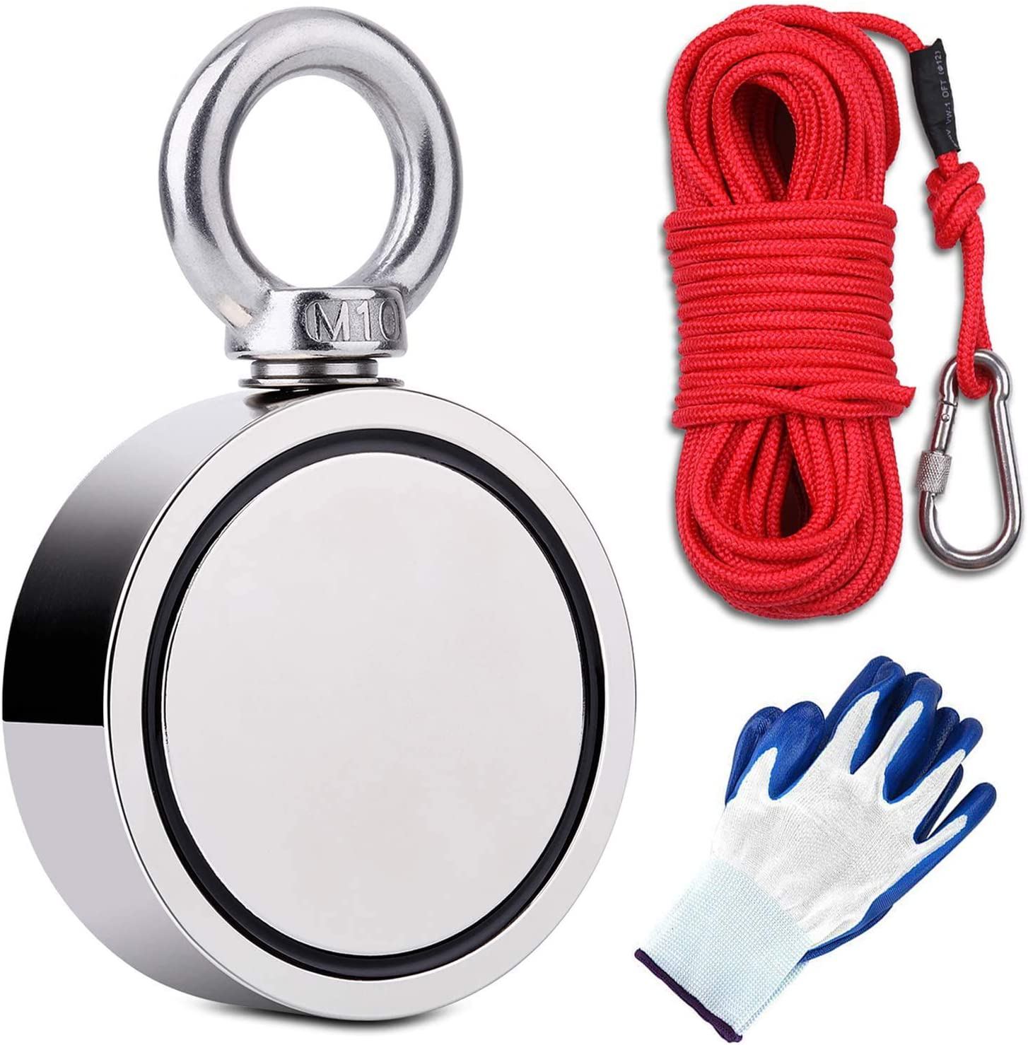 Heavy Duty Underwater Metal Detector Towel Hand Reel Magnet Fishing Kit Magnets for Kids and Adults Viper Mag Gloves 500lbs Powerful Strong Detecting Neodymium Magnet Complete kit Rope