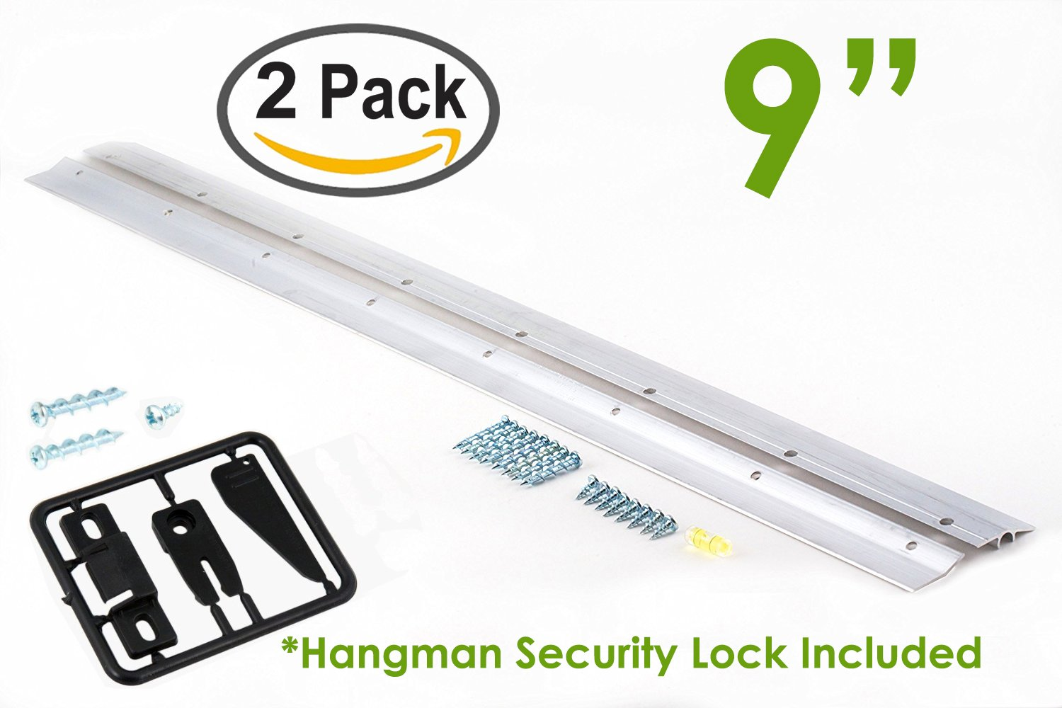 Hangman 9'' Heavy-Duty Mirror and Picture Hanger with Security Lock Includes Walldog Anchorless Screws - Aluminum (HM-9D-SL) | Pack of 2 Hangers