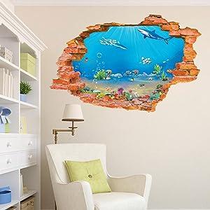 Test-Rite 3D Removable Self-Adhesive Broken Wall Vinyl Wall Sticker/Mural Art Decals Decorator Nursery Kids Birthday Décor Favor Gift (Aquarium 8001I (23.6